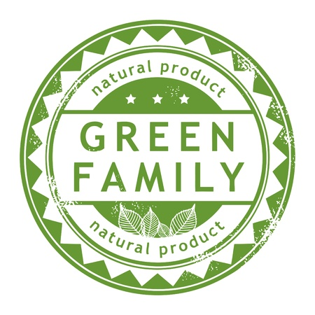 eco notice: Grunge rubber stamp with small stars and the word Green Family inside