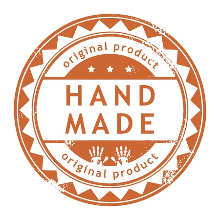 hand made: Grunge rubber stamp with small stars and the word Hand Made, Original product inside