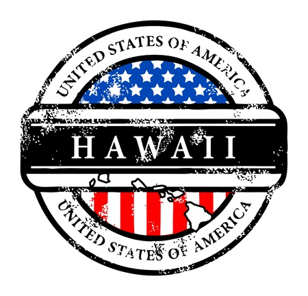 hawaii flag: Grunge rubber stamp with name of Hawaii Illustration