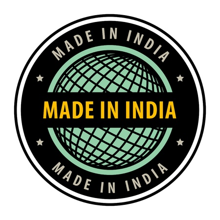 Made in India label Vector