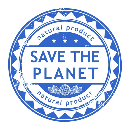 Grunge rubber stamp with small stars and the word Save the Planet inside Vector