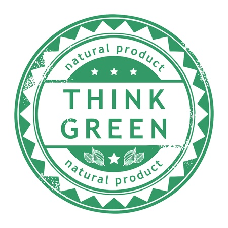 Grunge rubber stamp with small stars and the word Think Green inside Stock Vector - 13946155