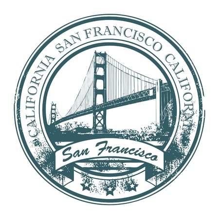 Grunge rubber stamp with Golden Gate Bridge and the word San Francisco, California inside Vector