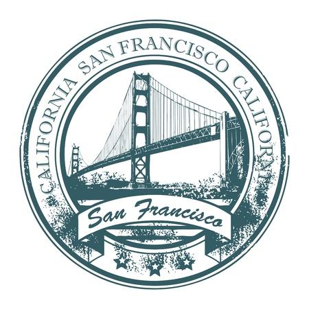 Grunge rubber stempel met Golden Gate Bridge en het woord San Francisco, Californië binnen Vector Illustratie