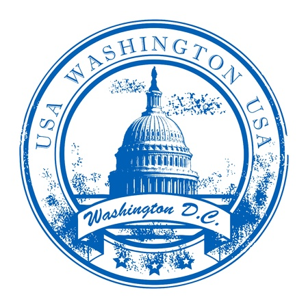 Grunge rubber stamp with Capitol Building and the word Washington, USA inside Vector