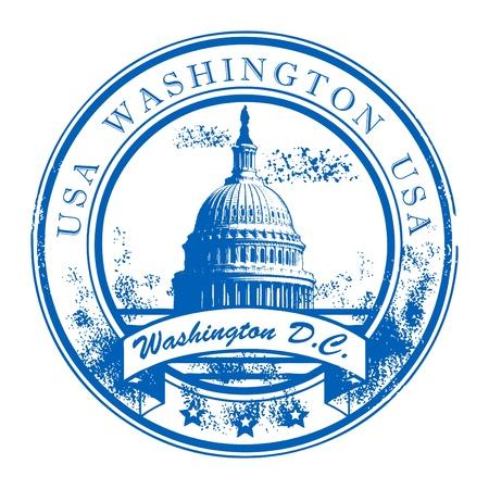 national landmark: Grunge timbro di gomma con la Capitol Building e la parola Washington, USA all'interno