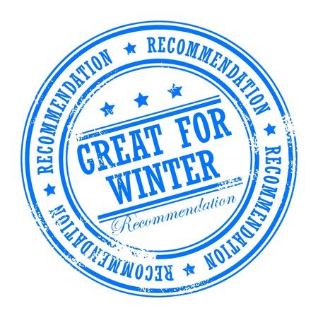 Grunge sello de caucho con pequeñas estrellas y la gran palabra para el invierno en el interior