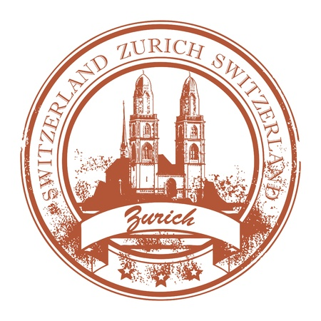 switzerland: Grunge rubber stamp with Cathedral and the word Zurich, Switzerland inside Illustration