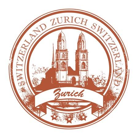 Grunge rubberen stempel met de kathedraal en het woord Zürich, Zwitserland binnen