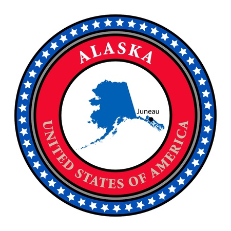 Label with name and map of Alaska Vector