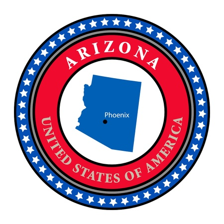 Label with name and map of Arizona Vector