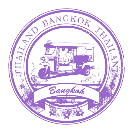 Grunge rubber stamp with Tuk-Tuk taxi and the word Bangkok, Thailand inside Vector