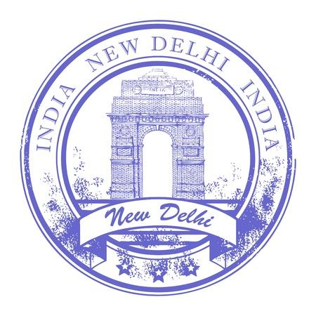 그런 지 고무 인도 게이트 스탬프와 단어 안에 뉴 델리, 인도