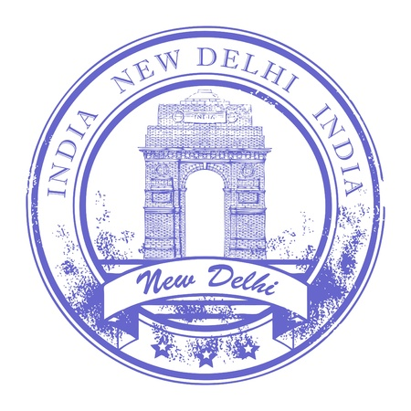 Grunge rubber stamp with India Gate and the word New Delhi, India inside Vector
