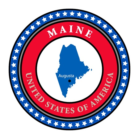 Label with name and map of Maine Stock Vector - 13946360