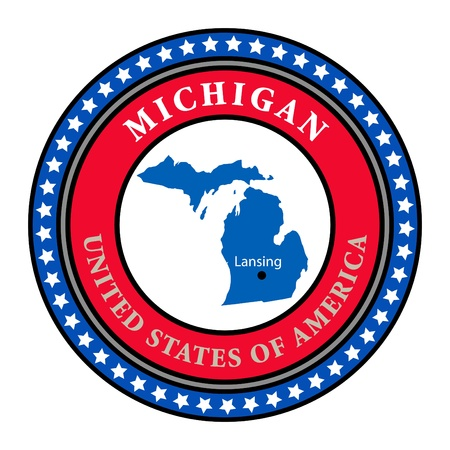 Label with name and map of Michigan