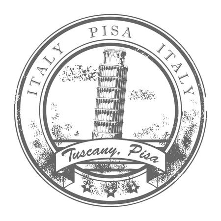 cultura italiana: Grunge timbro di gomma con la Torre Pendente di Pisa e il Pisa parola, l'Italia all'interno