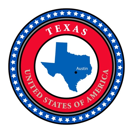 Label with name and map of Texas Stock Vector - 13946370