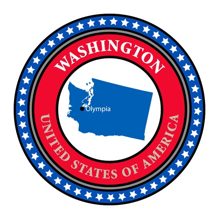 Label with name and map of Washington Vector