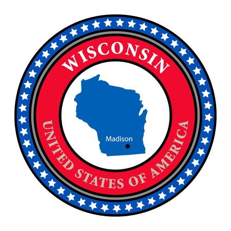 wisconsin flag: Label with name and map of Wisconsin