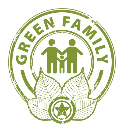 Grunge rubber stamp with the word Green Family inside Stock Vector - 13973021