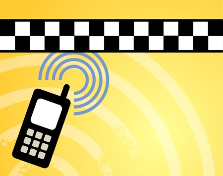 chequerboard: Taxi background with phone Illustration
