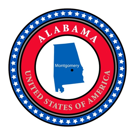 Label with name and map of Alabama Vector
