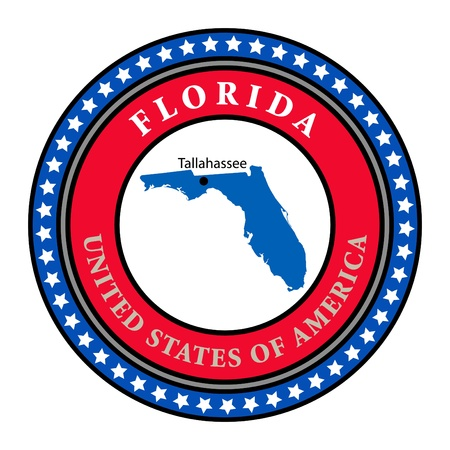 Label with name and map of Florida Vector
