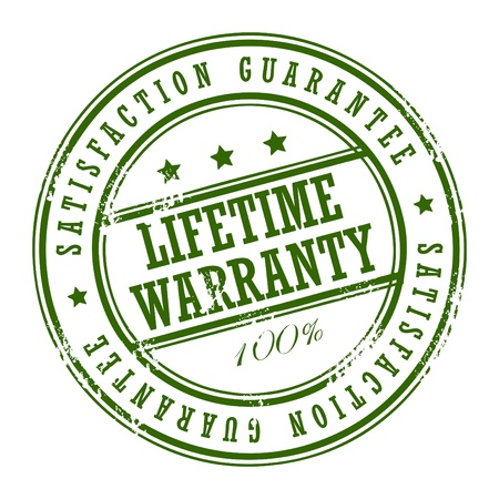 lifetime: Grunge rubber stamp with small stars and the word Lifetime warranty inside