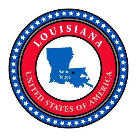 louisiana flag: Label with name and map of Louisiana