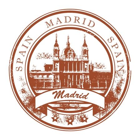 Grunge rubber stamp with the name of Madrid the capital of Spain written inside the stamp