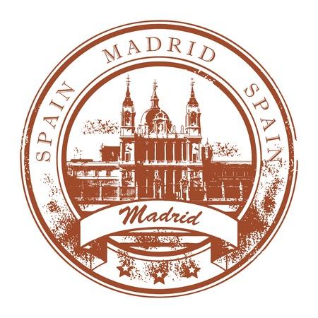 timbre voyage: Tampon en caoutchouc grunge avec le nom de Madrid la capitale de l'Espagne écrite à l'intérieur du timbre