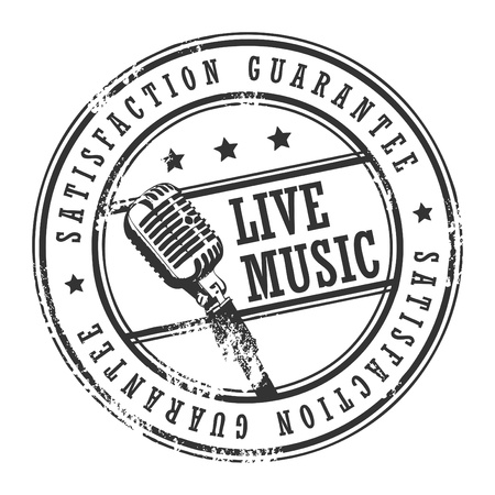 live music: Grunge rubber stamp with text live music written inside illustration
