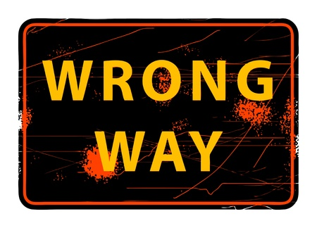 Wrong Way grunge sign Stock Vector - 13973148