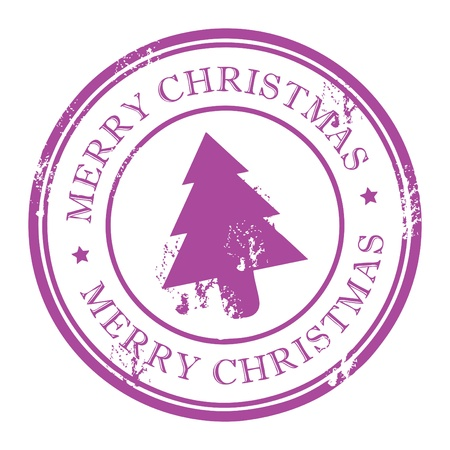 Grunge stamp with Xmas Tree and the text Merry Christmas written inside the stamp Vector