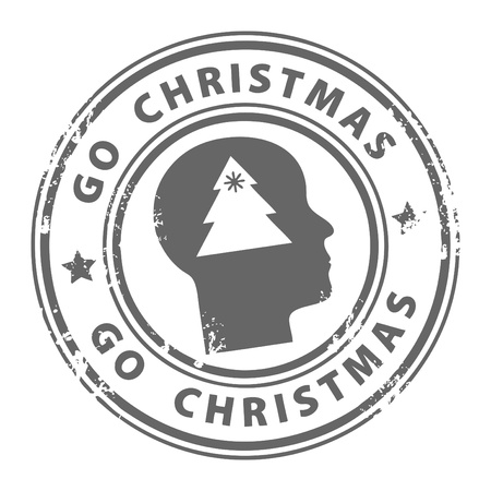 go inside: Grunge stamp with head and the text Go Christmas written inside the stamp  Illustration