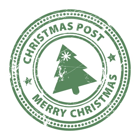 Grunge stamp with Xmas Tree and the text Christmas Post and Merry Christmas written inside the stamp Vector