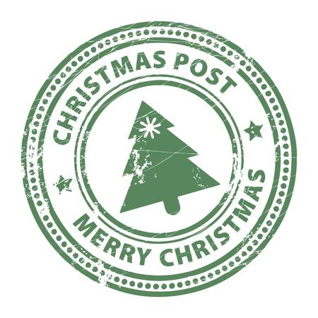 post stamp: Grunge timbro con Xmas Tree e il testo del Messaggio di Natale e Buon Natale scritto all'interno del francobollo Vettoriali