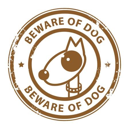 perro furioso: Grunge sello de goma con el perro y el Cuidado de Perro de palabras escritas en el interior del sello