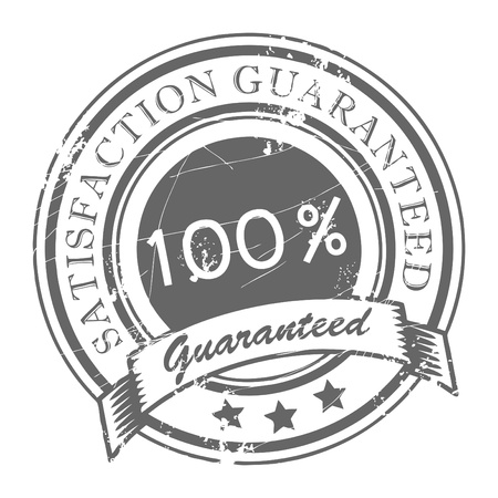 spoil: Abstract grunge rubber stamp with small stars and the word Satisfaction Guaranteed written inside the stamp Illustration