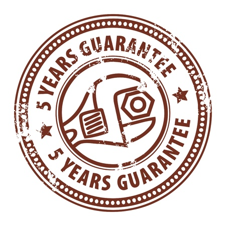 Abstract grunge rubber stamp with wrench and the word 5 years guarantee written inside the stamp Stock Vector - 14019050