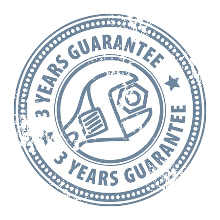 Abstract grunge rubber stamp with wrench and the word 3 years guarantee written inside the stamp Vector
