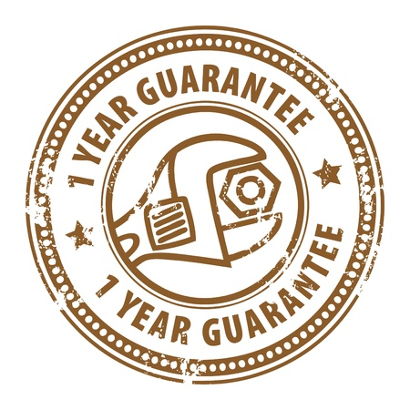 Abstract grunge rubber stamp with wrench and the word 1 years guarantee written inside the stamp Vector