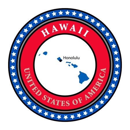 hawaii flag: Label with name and map of Hawaii
