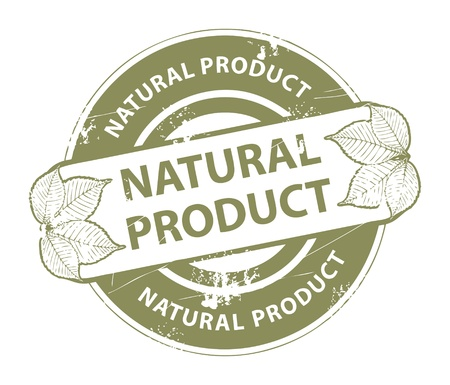 Grunge rubber stamp with leafs and the word Natural Product inside Vector