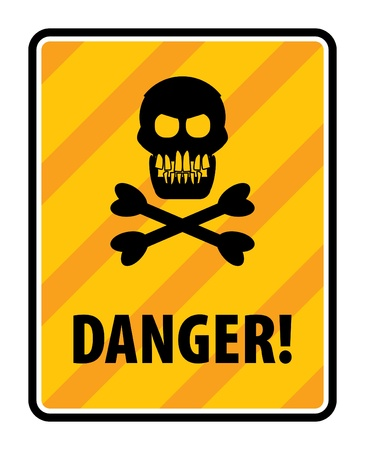 Skull and crossbones danger sign Vector
