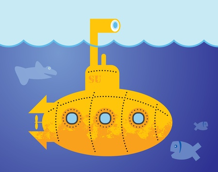 Yellow Submarine in to the sea Stock Vector - 14019057