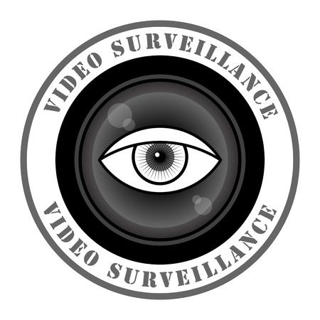 cam�ra surveillance: Signe surveillance vid�o Illustration