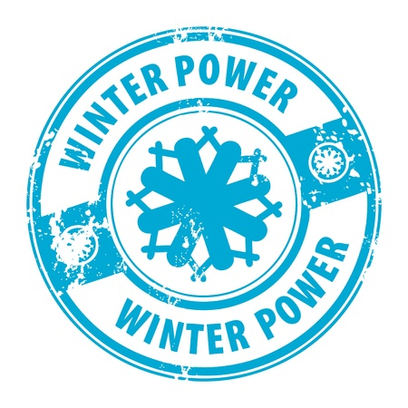 Abstract grunge rubber stamp with the word Winter Power guarantee written inside the stamp Illustration