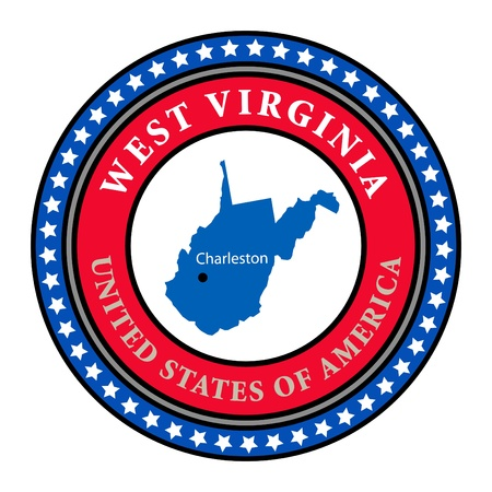 west virginia: Label with name and map of West Virginia